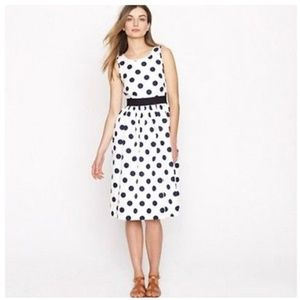 J. Crew Polka Dots Fit and Flare Midi Dress